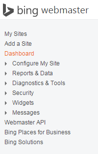 Bing Webmaster Tools Dashboard