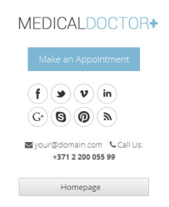 Call to action in header of MedicalDoctor+ theme